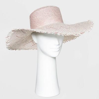 Women's Wide Brim Straw Boater Hat with Fringe - Universal Thread™