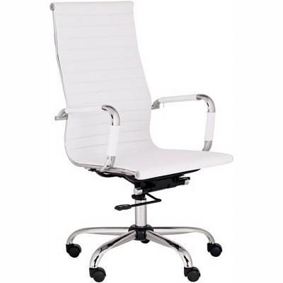 Studio 55 Modern Home Office Chair Swivel Tilt High Back White Black Chrome Adjustable for Work Desk Home Office Computer