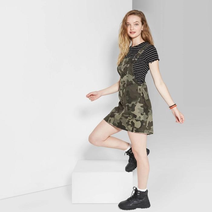 Women's Camo Print Sleeveless Square Neck Pinafore Mini Dress - Wild Fable™ Olive - image 1 of 3