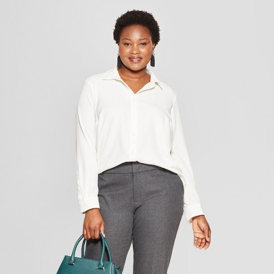 e00678de400f5b Women s Plus Size No Gap Button-Down Long Sleeve Blouse - Ava   Viv™    Target
