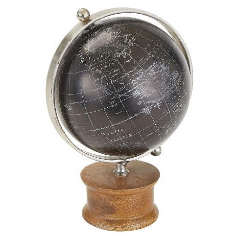 Black Globe with Wood Base - Go Home - image 1 of 1