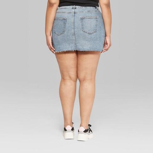 e2b0a6d40e45 Women s Plus Size 5 Pocket Denim Mini Skirt - Wild Fable™ Medium Blue Wash
