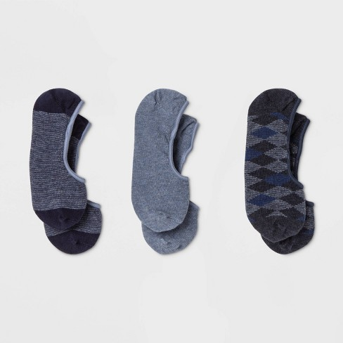 Women's 3pk Argyle Liner Socks - A New Day™ Blue One Size - image 1 of 2