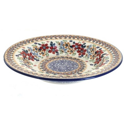 Blue Rose Polish Pottery Red Daisy Soup Plate