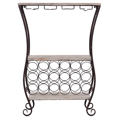 Hudson Wine Storage Table Metal/Gray - Aiden Lane