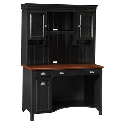 Bush Furniture Stanford Computer Desk w/Hutch and Drawers Antique Black STF002