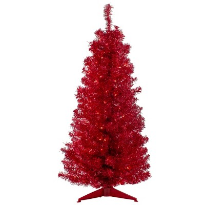 Northlight 4' Pre-Lit Slim Red Artificial Christmas Tree - Clear Lights