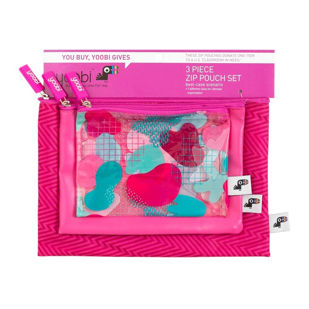 Image of 3pc Zip Pencil Case Pink - Yoobi