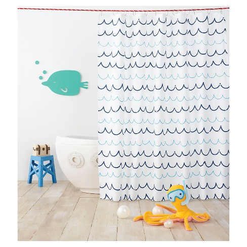 Wave Blue Shower Curtain - Pillowfort™ - image 1 of 2