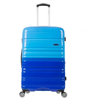 "Rockland Melbourne 20"" Expandable Hardside Carry On Spinner Suitcase - Blue/Sky Blue"