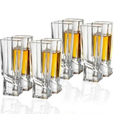 JoyJolt Carre Collection Shot Glasses - Set of 8 Square Heavy Base Shot Glass Set - 1.8 oz