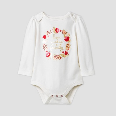 Baby Girls' 'Love Makes a Family' Long Sleeve Graphic Bodysuit - Cat & Jack™ Cream/Red 0-3M