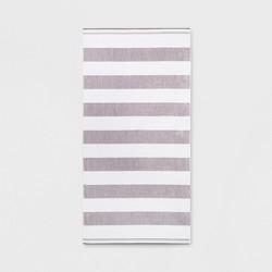 Cabana Stripe Beach Towel XL Gray/White - Sun Squad™