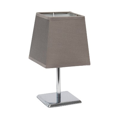 Mini Table Lamp with Squared Empire Fabric Shade Gray - Simple Designs
