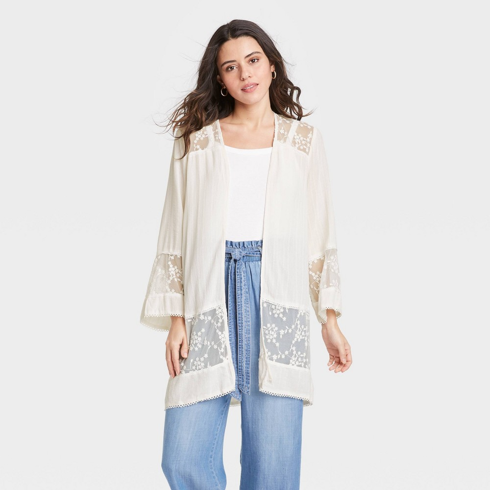 Women 39 S Long Sleeve Lace Detail Kimono Jacket Knox Rose 8482 White Xl