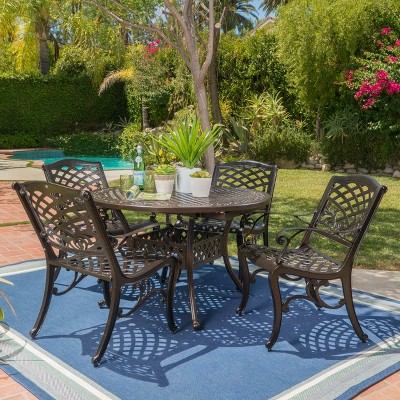 Windley 5pc Aluminum Dining Set - Hammered Bronze - Christopher Knight Home