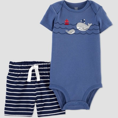 Baby Boys' 2pc Whale Top and Bottom Set - Just One You® made by carter's Blue 6M