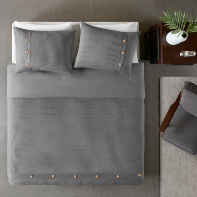 3pc King/Cal King Lucina Cotton Waffle Weave Duvet Cover Set Gray
