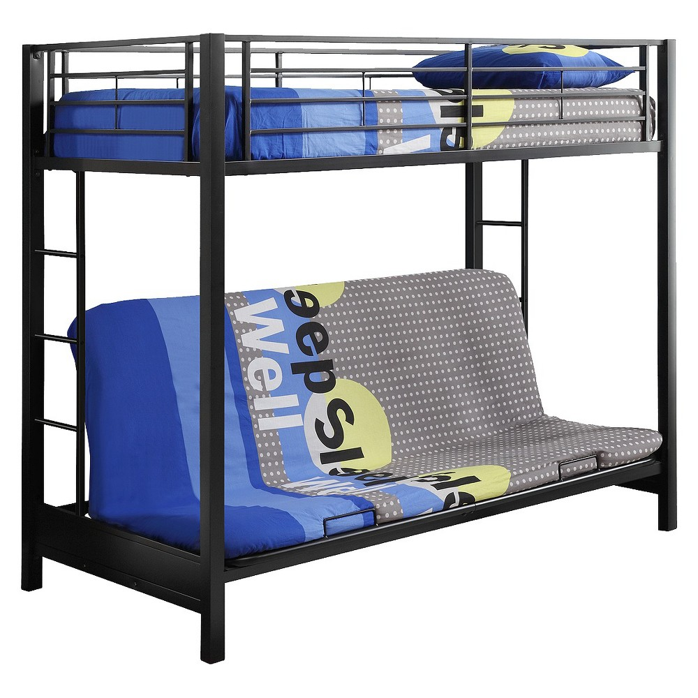 Premium Metal Twin over Futon Bunk Bed - Black - Saracina Home