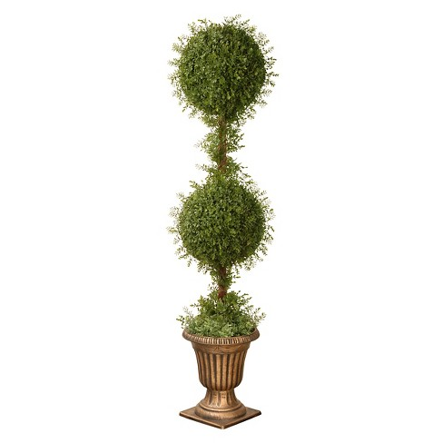 "Mini Tea Leaf 2 Ball Topiary with Black/Gold Urn (60"") - image 1 of 1"