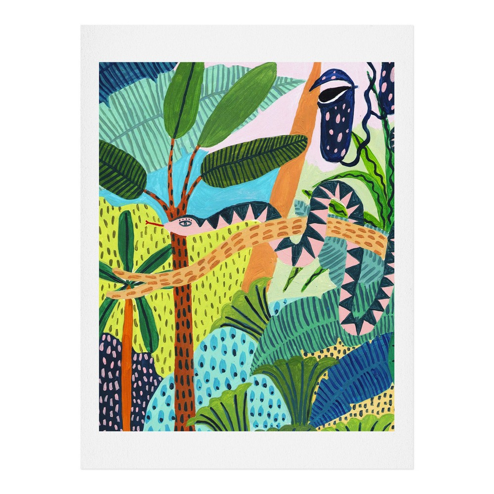 "Image of ""11"""" x 14"""" Ambers Textiles Jungle Snake Wall Art Print Green - society6"""