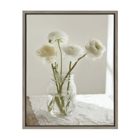 """Kate & Laurel 24""""x18"""" Sylvie Ranunculus Flower Bouquet In Mason Jar By Kristy Campbell Framed Wall Canvas Gray - image 1 of 5"""