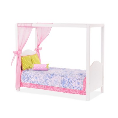"""Our Generation Bedroom Accessory for 18"""" Dolls - My Sweet Canopy Bed - Pink & Blue Floral"""