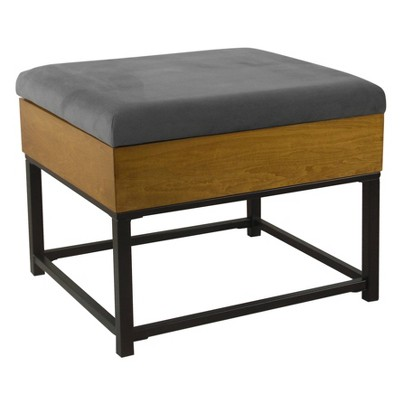 Wood and Metal Upholstered Storage Ottoman - HomePop
