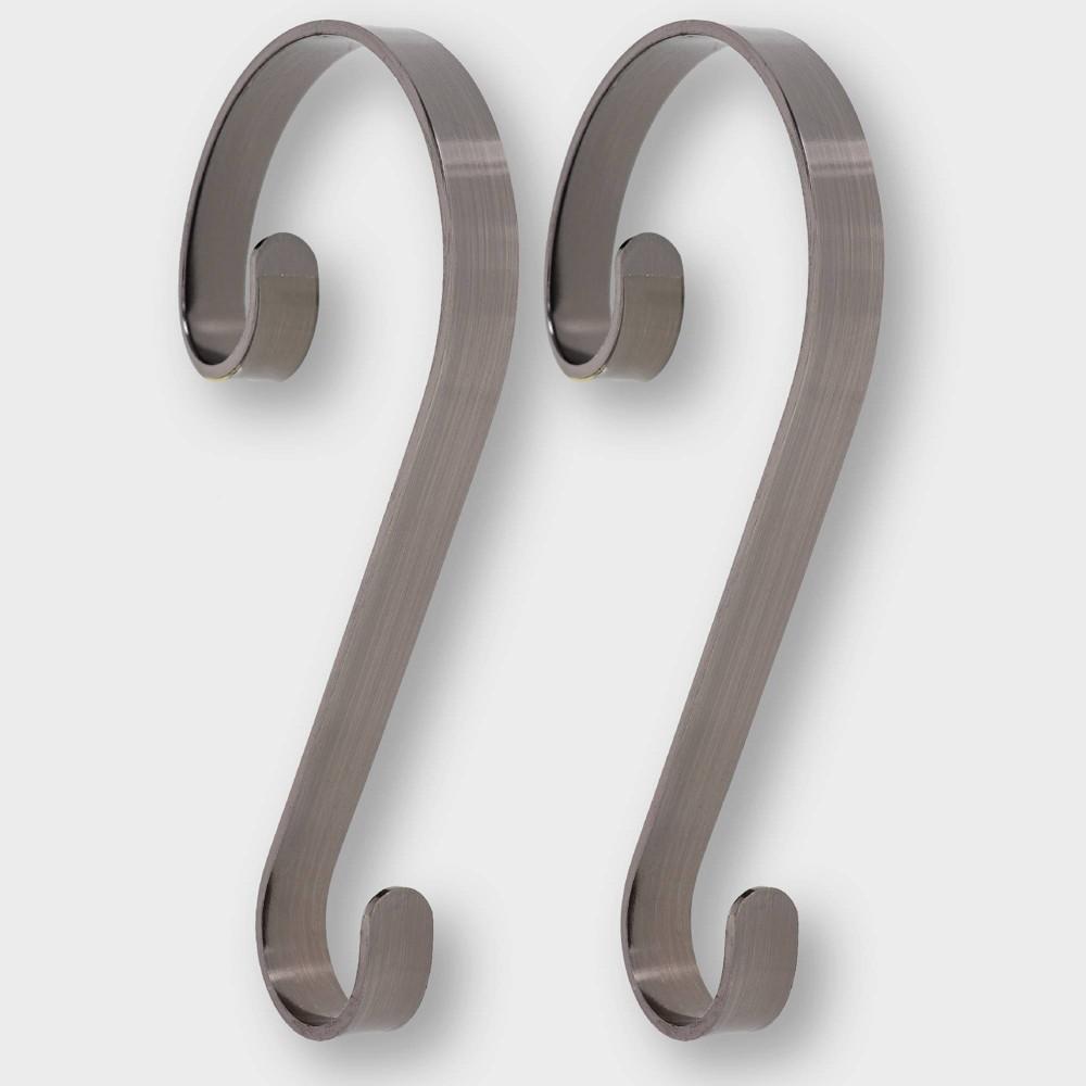 Image of Haute Decor 2ct Brushed Nickel Christmas Stocking Holder