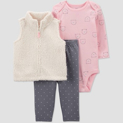 Baby Girls' Bear Sherpa Vest Top & Bottom Set - Just One You® made by carter's Ivory 9M