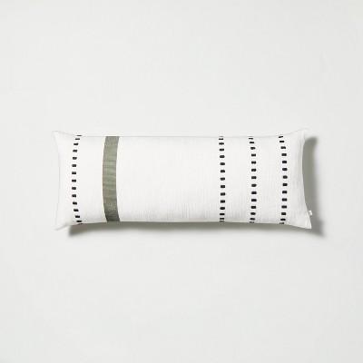 "12"" x 30"" Pick Stitch Green Stripe Oversized Lumbar Throw Pillow - Hearth & Hand™ with Magnolia"