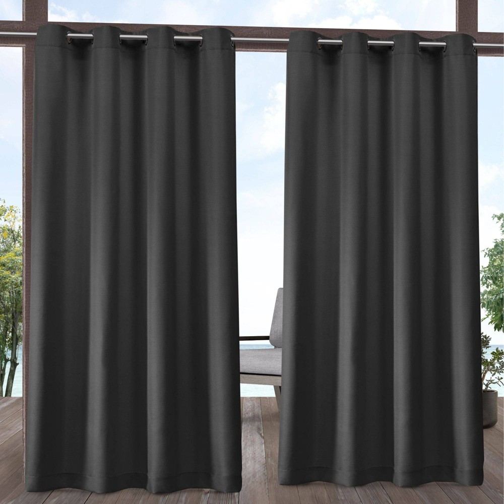 Set Of 2 84 34 X54 34 Outdoor Solid Cabana Grommet Top Light Filtering Curtain Panel Charcoal Exclusive Home