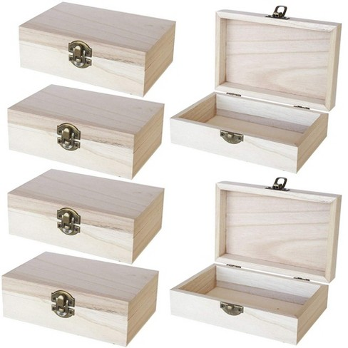 Unfinished Wooden Jewelry Box 6 Pack Wood Jewelry Boxes With Locking Clasp Target