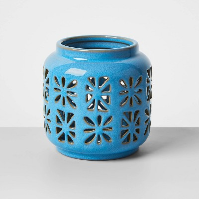 "4.5"" Small Ceramic Votive Outdoor Lantern Turquoise - Opalhouse™"