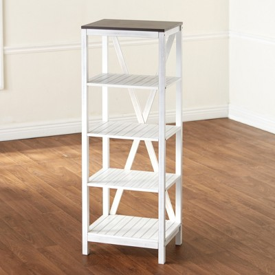 Lakeside Wooden Two-Tone Storage Shelf Tower with 4 Tiers and Top Surface