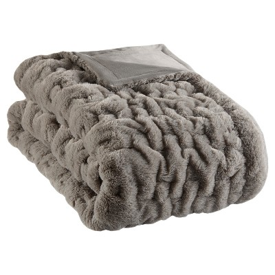 "50""x60"" Ruched Faux Fur Throw Blanket Gray"