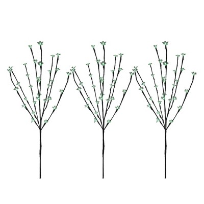 Northlight Set of 3 Pre-Lit Cherry Blossom Artificial Tree Branches 2.5' - Green LED Lights