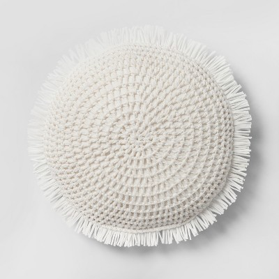 Knit With Fringe Round Throw Pillow White - Opalhouse™