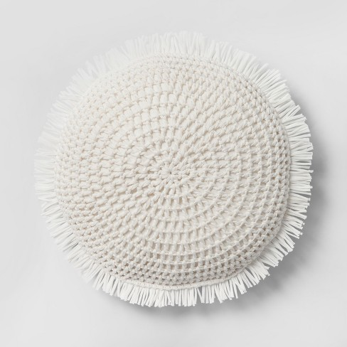 Superb Round Knit With Fringe Throw Pillow Opalhouse Gamerscity Chair Design For Home Gamerscityorg