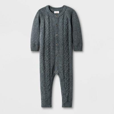 Baby Boys' Bobble Cable Romper - Cat & Jack™ Dark Heather Gray 6-9M