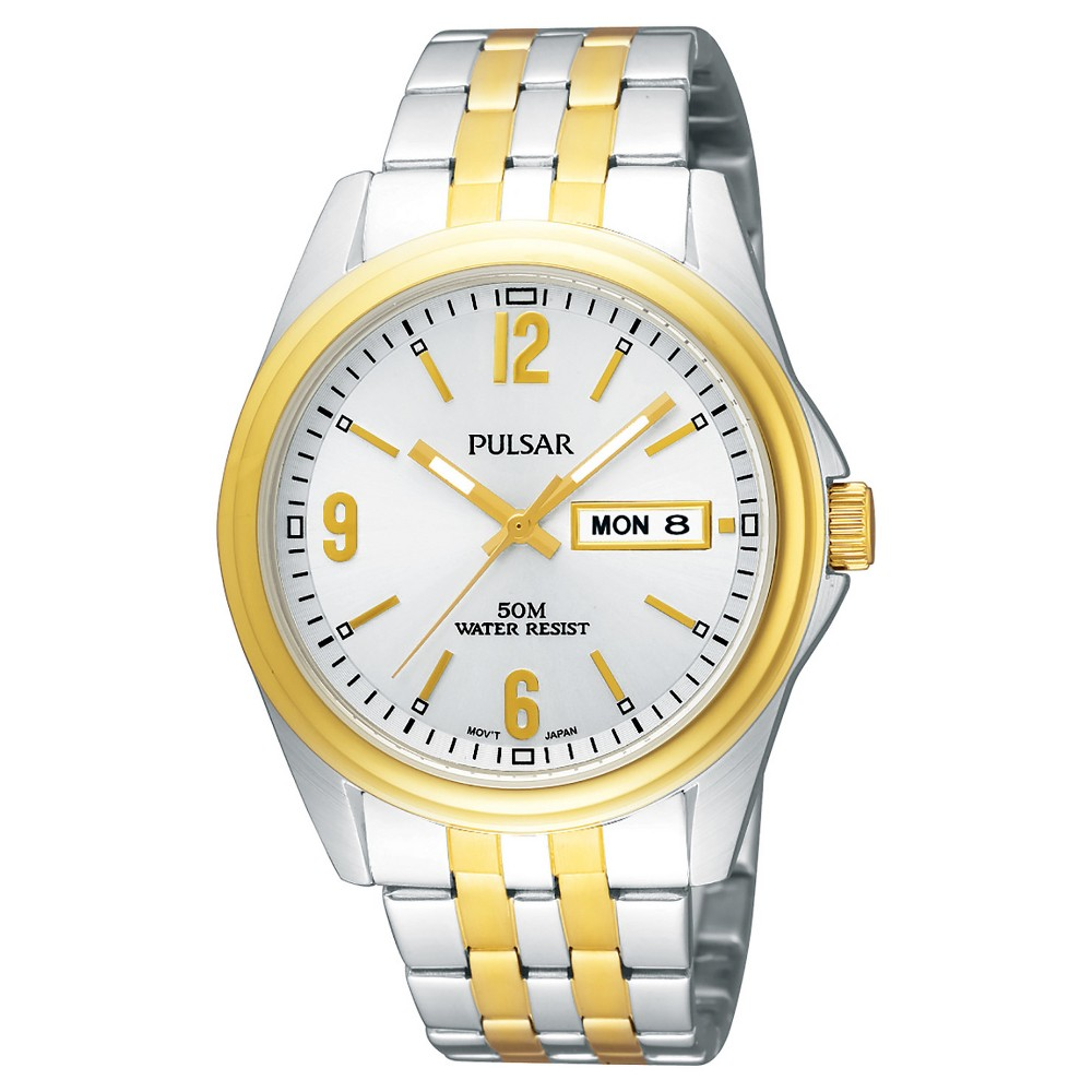 Men's Pulsar Day/Date Functional Watch - Two Tone with Silver Dial - PV3002
