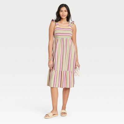 Women's Ruffle Sleeveless Dress - Universal Thread™ Striped