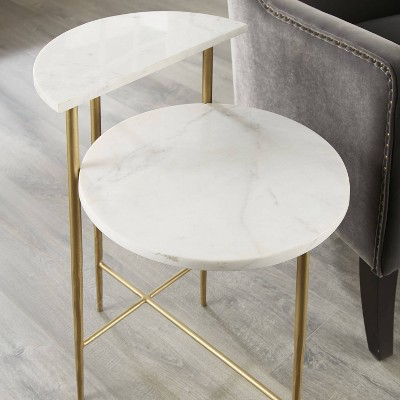 Patna Marble Top Accent Table White/Brass - Steve Silver Co.