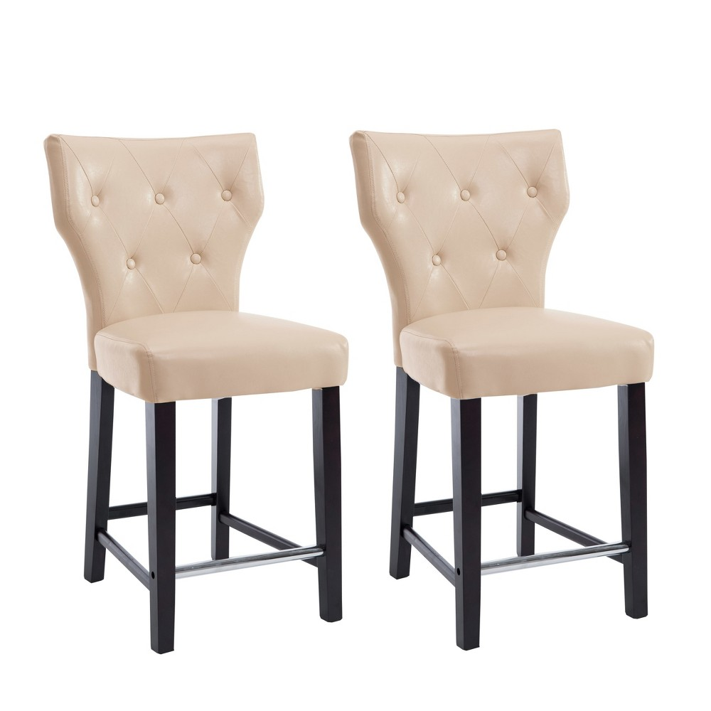 Set of 2 Counter And Bar Stools Cream (Ivory) - CorLiving