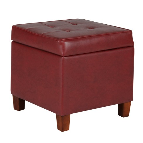 Tufted Square Leatherette Storage Ottoman Dark Red Homepop