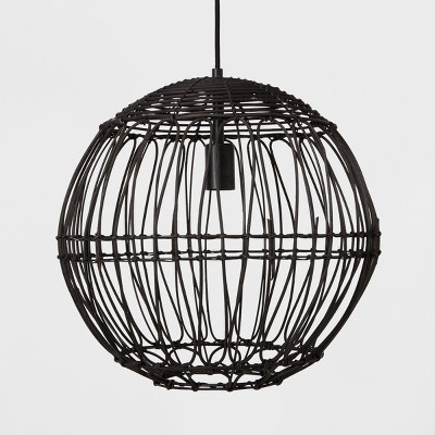 Rattan Globe Ceiling Light Black   Opalhouse™ by Opalhouse