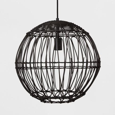 Rattan Globe Ceiling Light Black - Opalhouse™ - image 1 of 4
