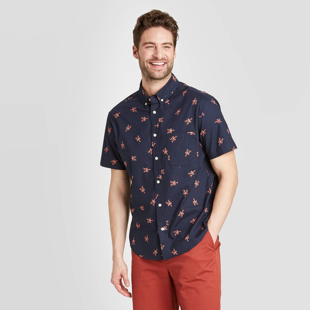 Men's Standard Fit Short Sleeve Button-Down Shirt - Goodfellow & Co Frothy Blue S was $19.99 now $12.0 (40.0% off)