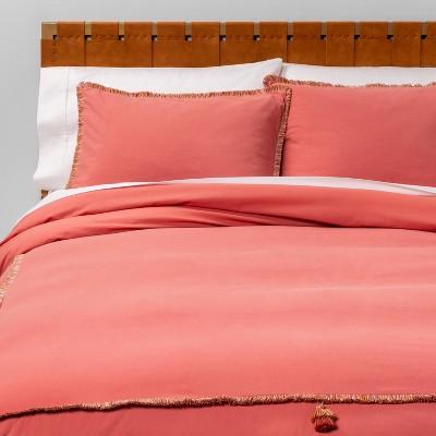 Full/Queen Fringe Hotel Tassel Duvet Cover & Sham Set Rose - Opalhouse™