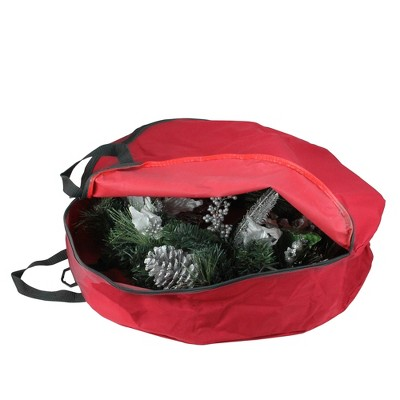 """Northlight 36"""" Red and Black Zip Up Christmas Wreath Storage Bag"""